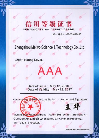 Certificate of Credit Grade